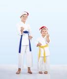 两在机架空手道的karateka立场 图库摄影