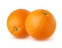 两在白色背景的成熟桔子 图库摄影