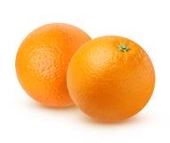 两在白色背景隔绝的成熟桔子 免版税图库摄影