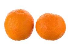 两在白色背景隔绝的成熟水多的桔子 免版税库存图片