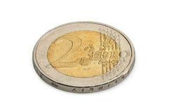 两在白色背景隔绝的欧元硬币 免版税库存照片