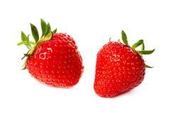 两在白色隔绝的草莓 免版税库存照片