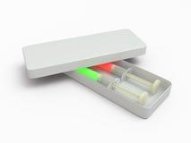 两在箱子, 3D的注射器 库存照片