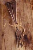 两在老木头,背景的串栓的叉子 库存图片
