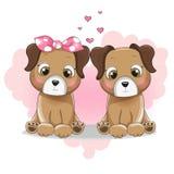 两在背景心脏的逗人喜爱的小狗动画片 皇族释放例证