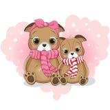 两在背景心脏的逗人喜爱的小狗动画片 向量例证