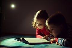 两在黑暗的愉快的兄弟姐妹阅读书与在h的手电 免版税库存照片