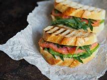 两在黑暗的背景的自创三明治 免版税库存图片