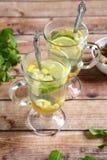 两块姜茶用蜂蜜和薄菏 免版税库存照片
