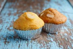 两块杯形蛋糕用杏仁 库存照片