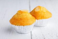 两块杯形蛋糕用杏仁 免版税库存照片