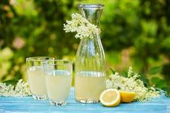 两块玻璃和elderflower柠檬水玻璃水瓶  库存图片