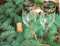 两块玻璃在冷杉分支背景与一个瓶的香槟和黄柏,被弄脏的背景 免版税图库摄影
