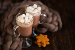 两块玻璃用热巧克力装饰与打好的奶油, 3月 图库摄影