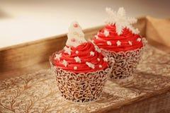 两块红色杯形蛋糕 库存照片