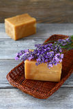 两块肥皂和淡紫色 库存图片