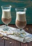 两块高玻璃用包括新鲜的软的奶油的开胃和健康点心(香草和巧克力) 免版税库存照片