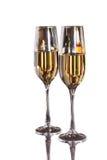 两块玻璃用在白色bacground隔绝的白葡萄酒 名人构成 这里您的文本 免版税库存照片