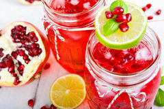 两块玻璃用红色pomgranate汁液、柠檬和薄菏 库存照片