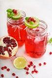 两块玻璃用红色pomgranate汁液、石灰和薄菏。 免版税库存照片
