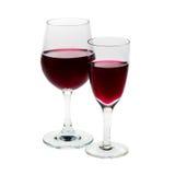 两块玻璃用红葡萄酒 免版税库存图片