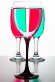 两块玻璃香槟和一个酒的 免版税库存照片
