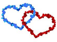 两大心脏由一点心脏做成 图库摄影
