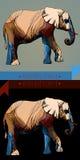 两大象的多色剪影 库存图片