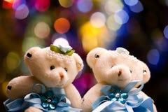 两头熊玩具演播室演播室工作 免版税库存照片