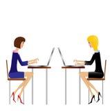 两女商人工作在办公室 皇族释放例证