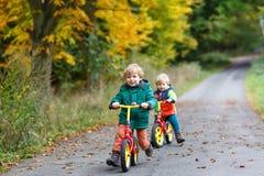 两小兄弟姐妹获得在自行车的乐趣在秋天森林。 免版税库存图片
