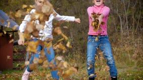 两小女孩投掷秋叶 使用在秋天庭院里的孩子 结合被生成的另外风险秋叶hdr图象三 室外乐趣在秋天 4k 60fps减慢 影视素材