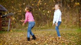 两小女孩投掷秋叶 使用在秋天庭院里的孩子 结合被生成的另外风险秋叶hdr图象三 室外乐趣在秋天 4k 60fps减慢 股票视频