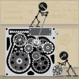 两小机器人修理机制 库存图片