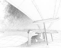 两层的高速公路的剪影。 库存图片