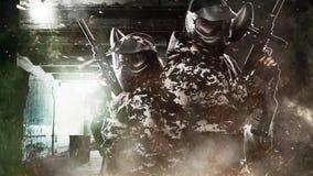 两岗位启示背景的全副武装的被掩没的迷彩漆弹运动战士 圈油漆球的hd录影 向量例证