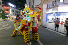2016两岸(厦门)古城神民间文化节日舞狮展示  库存照片