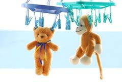两干燥棕色玩具熊垂悬与室外的钳位 免版税库存图片