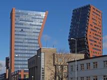 两座高层建筑物在克莱佩达,立陶宛 图库摄影