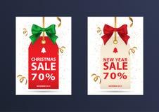 两张圣诞节折扣优惠券 免版税库存图片