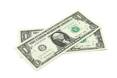 两张新的票据到一美元里 库存图片