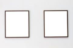 两张照片框架水平的照片在死墙背景, co的 库存图片