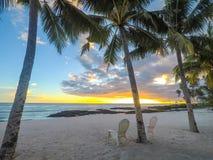 两张轻便折叠躺椅在日落的棕榈树下在一个空的海滩在 免版税库存图片