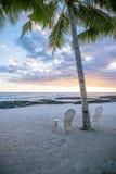 两张轻便折叠躺椅在日落的棕榈树下在L的一个空的海滩 免版税库存图片