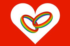 两彩虹上色了与心脏的标志的圆环在红色背景3D例证的 皇族释放例证