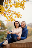 两微笑的年轻可爱的人在秋天户外dat的公园 图库摄影