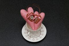 两心脏在情人节 免版税库存照片