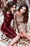 两性感的美丽的女服皮包骨头的金红色礼服发光的衣服饰物之小金属片 库存照片