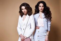 两性感的美丽的妇女企业夫人俏丽的面孔构成黑暗的l 库存照片