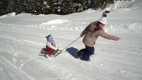 两愉快的漂亮的孩子有乐趣雪橇乘驾在山的一个积雪的森林在冬天 兄弟和 股票录像